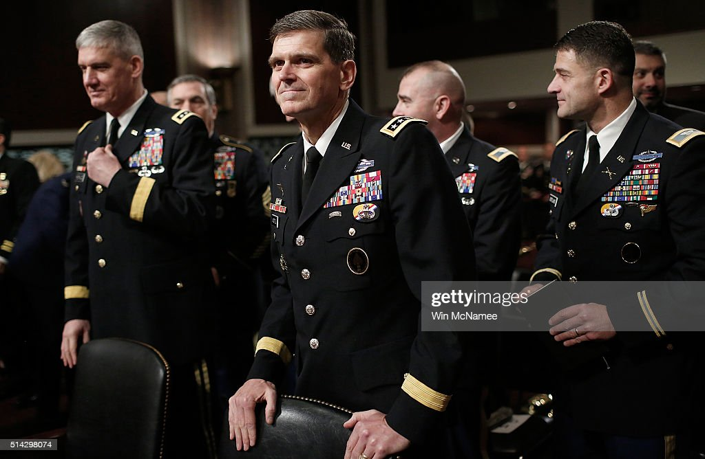 Army Gen Joseph Votel commander of the US Special Operations Command arrives for testimony before the Senate Armed Services Committee March 8 2016 in...
