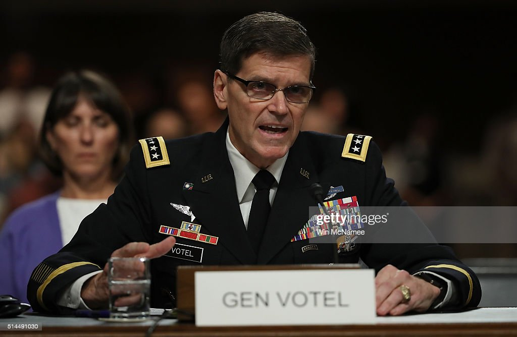 S Army Gen Joseph Votel nominee to be the next commander of the US Central Command testifies before the Senate Armed Services Committee March 9 2016...