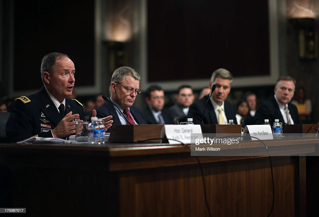 , U.S. Army Gen. Keith Alexander, commander of the U.S. Cyber Command, director of the National Security Agency (NSA), and Rand Beers, Acting Deputy Homeland Security Secretary, Patrick Gallagher Acting Deputy Commerce Secretary, director of the National Institute of Standards and Technology; and Richard McFeely, executive assistant director of the Federal Bureau of Investigation's Criminal, Cyber, Response, and Services Branch participate in a Senate Appropriations Committee hearing on Capitol Hill, June 12, 2013 in Washington, DC. The committee is hearing testimony on President Obama's FY 2014 budget and also Cybersecurity from Gen. Keith Alexander and other goverment officials.