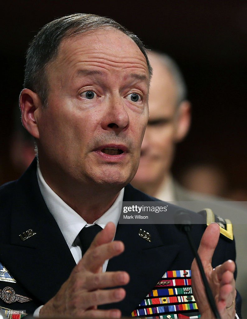 U.S. Army Gen. Keith Alexander, commander of the U.S. Cyber Command, director of the National Security Agency (NSA), testifies during a Senate Appropriations Committee hearing on Capitol Hill, June 12, 2013 in Washington, DC. The committee is hearing testimony on President Obama's FY 2014 budget and also Cybersecurity from Gen. Keith Alexander and other government officials.