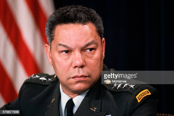 US Army General Colin Powell chairman of the Joint Chiefs of Staff participates in a news conference at the Pentagon