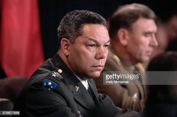 US Army General Colin Powell chairman of the Joint Chiefs of Staff participates in a news conference at the Pentagon Powell's Russian counterpart...