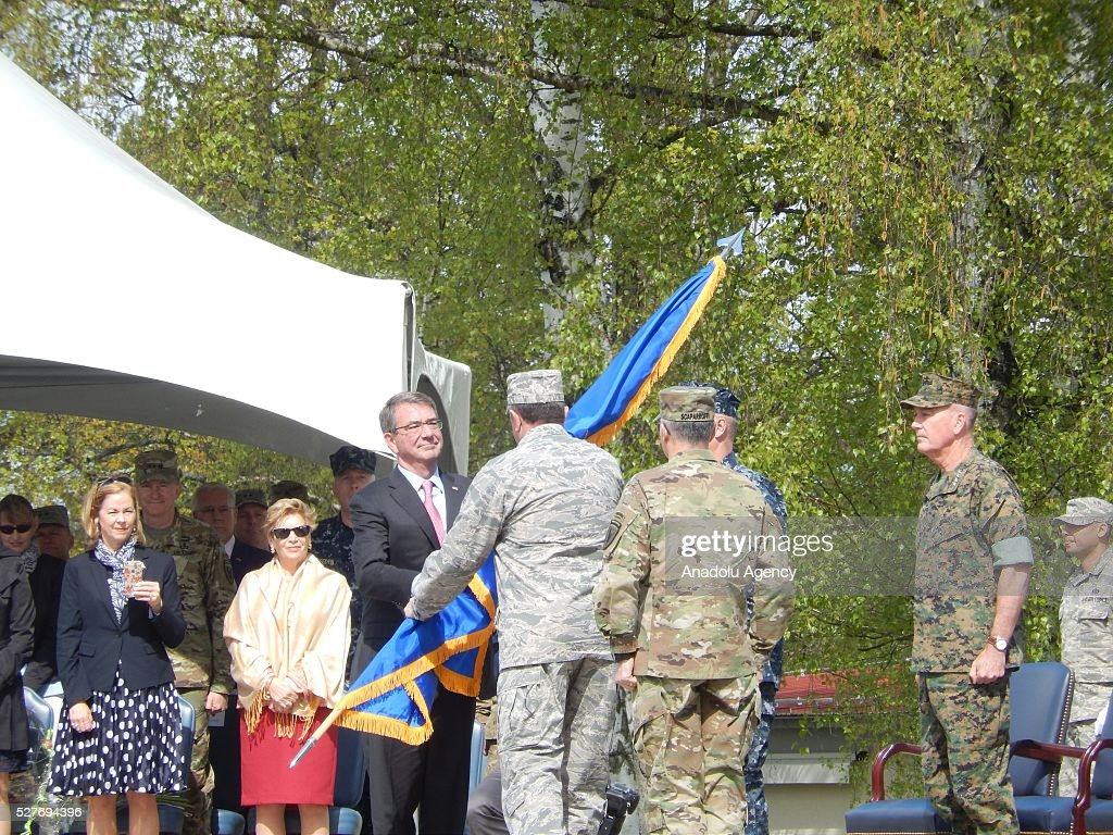 US Army General Curtis Scaparrotti, the new commanding officer of US and NATO troops in Europe, and his predecessor, US Air Force General Philip Breedlove, stand on stage during the change in command at the United States European Command (EUCOM), in Stuttgart, Germany, 03 May 2016.