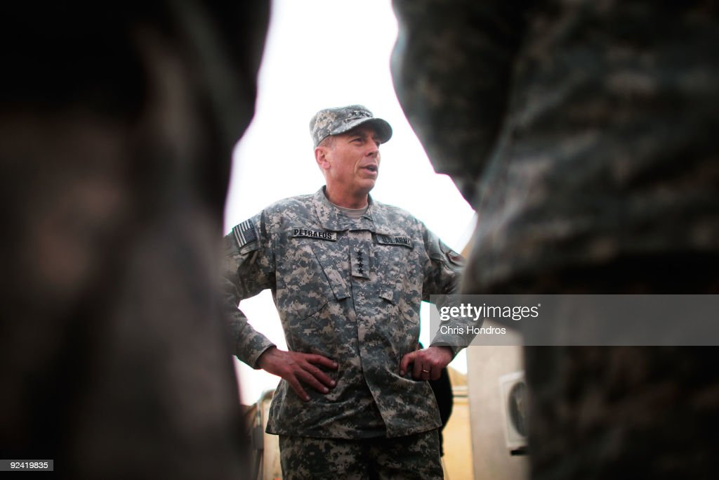 S. Army General David Petraeus, commander of U.S. Central Command, meets young officers October 28, 2009 at Forward Operating Base Wilson in Kandahar Province, Afghanistan. General Petraeus visited the base, located in one of the most violent regions of Afghanistan, for a series of meetings with base commanders.