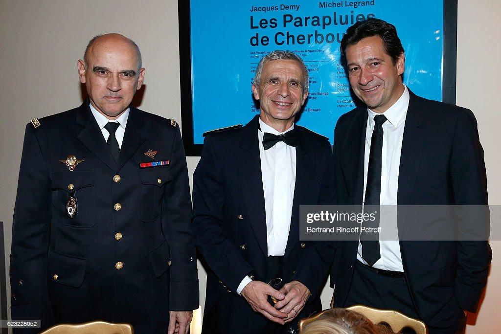 Army General, Jean-Regis Vechambre, Bandmaster of the event, Francois Boulanger and humorist Laurent Gerra attend the 24th 'Gala de l'Espoir' at Theatre du Chatelet on November 14, 2016 in Paris, France.