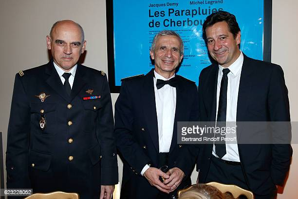 Army General JeanRegis Vechambre Bandmaster of the event Francois Boulanger and humorist Laurent Gerra attend the 24th 'Gala de l'Espoir' at Theatre...