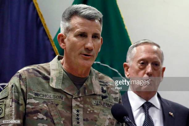 S Army General John Nicholson commander of US Forces Afghanistan and US Defense Secretary James Mattis hold a news conference at Resolute Support...