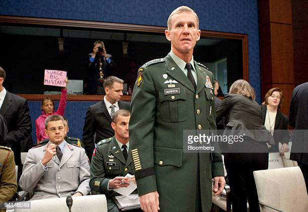 Army General Stanley McChrystal commander of US forces in Afghanistan arrives to speak at a House Armed Services Committee hearing in Washington DC...