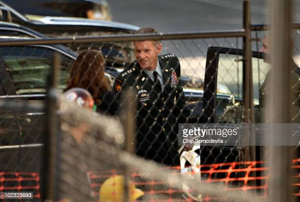 S Army General Stanley McChrystal the top commander in Afghanistan is welcomed to the White House before a meeting with President Barack Obama and...