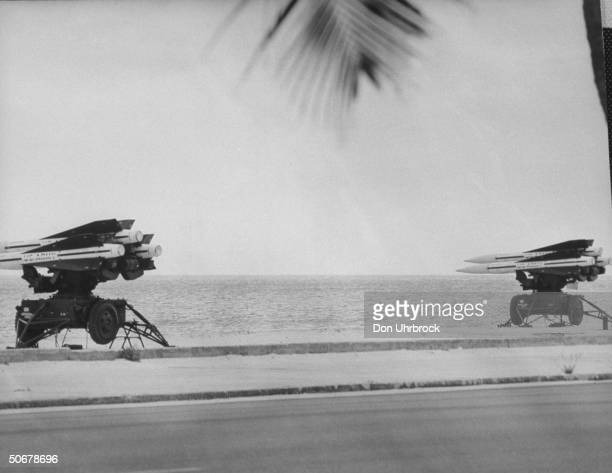 US Army hawk missiles on portable launchers sitting on beach during crisis w Cuba regarding Soviet missiles there