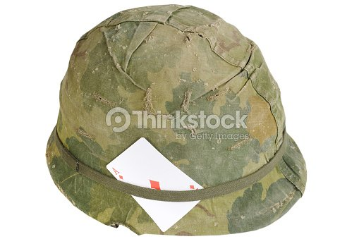 d91577f6 US Army helmet Vietnam war period with amulet - playing card ace of  diamonds : Stock