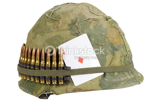 99c3f684 US Army helmet Vietnam war period with camouflage cover and ammo belt, dog  tag and