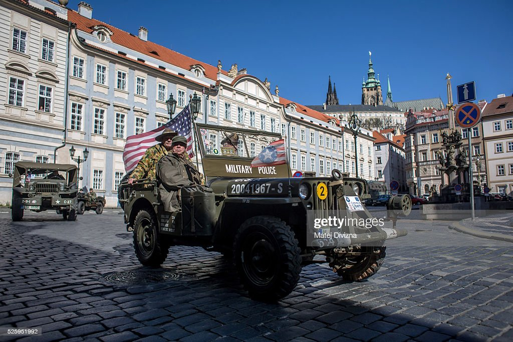 US army jeeps are driven during the 'Convoy of Liberty' event on April 29, 2016 in Prague, Czech Republic. The 'Convoy of Liberty' commemorates the 71st anniversarry of the liberation of the western part of the Czech Republic by the US Army from Nazi oppression in 1945. The convoy's route begins on the bank of Vltava river in Prague and makes its first stop in front of the US Embassy, where it will be met by the Czech Army Military Band.