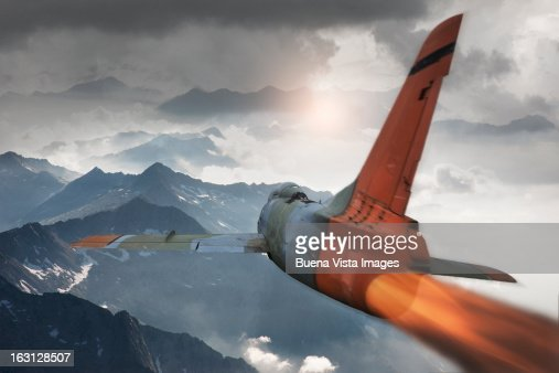 Army jet over mountains