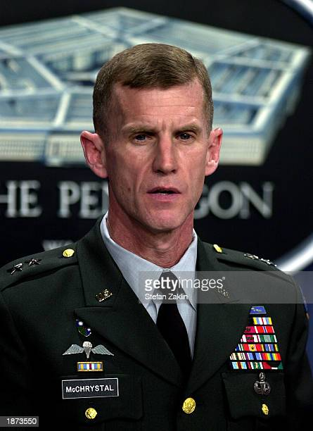 Army Major General Stanley McChrystal Vice Director of Operations speaks during a briefing at the Pentagon March 26 2003 in Arlington Virginia...