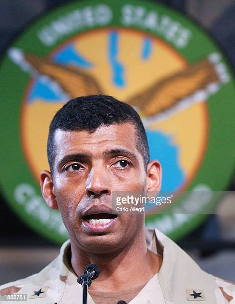 US Army Major General Vincent Brooks fields a question during a briefing at the Coalition Media Center in Camp As Sayliyah Doha Qatar April 1 2003...