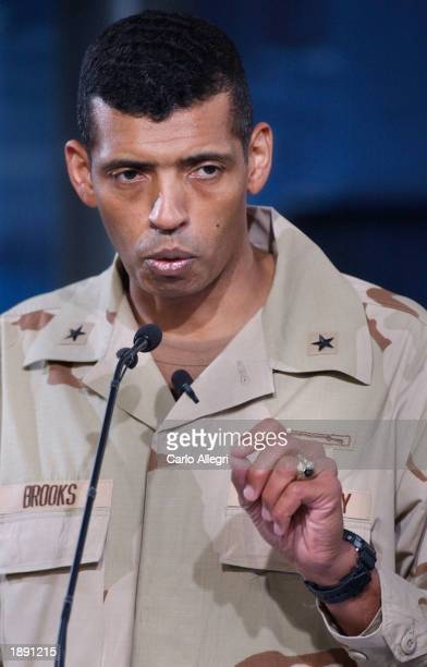 US Army Major General Vincent Brooks gives a briefing at the Coalition Media Center in Camp As Sayliyah April 2 2003 in Doha Qatar Brooks talked of a...