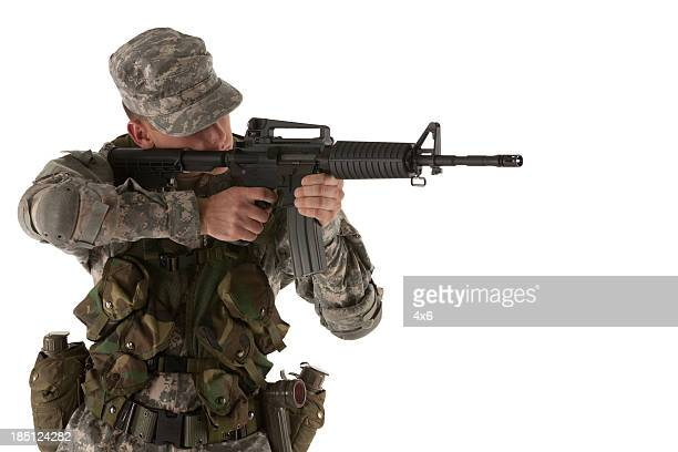 Army man aiming with a rifle