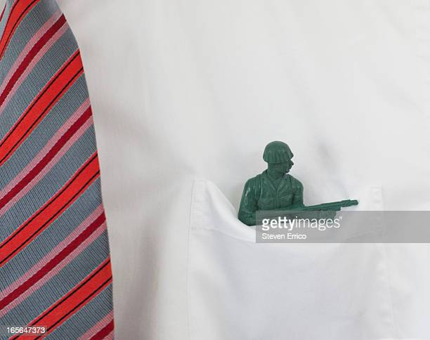 Army man in dress shirt pocket