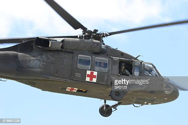 US Army Medevac Helicopter in Flight Red Cross