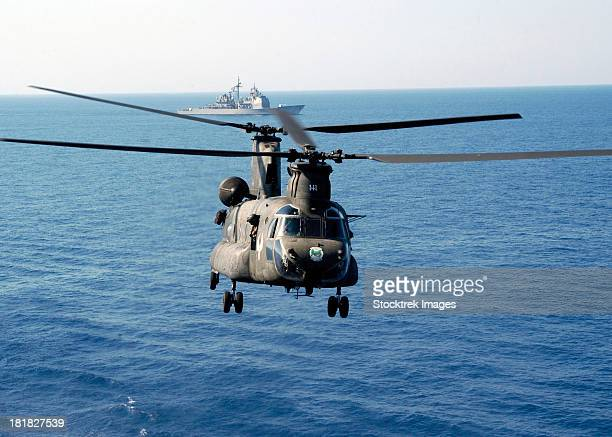 A U.S. Army MH-47 Chinook prepares to land.
