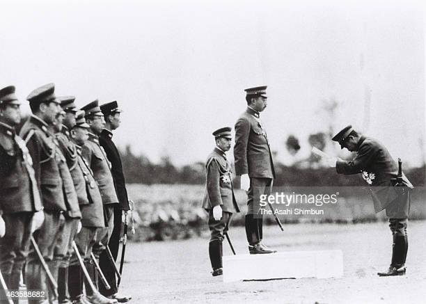 Army Minister Hideki Tojo received imperial speech by Emperor Hirohito during the military review to mark the 2600 anniversary of the Japan's first...