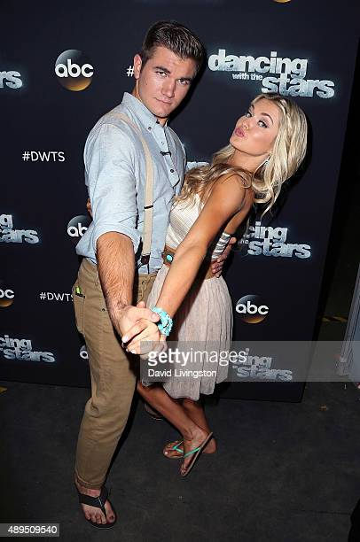 Army National Guard Specialist Alek Skarlatos and dancer/TV personality Lindsay Arnold attend 'Dancing with the Stars' Season 21 at CBS Televison...
