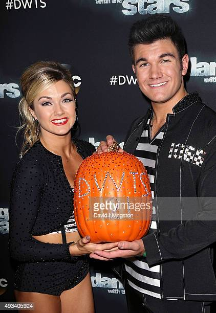Army National Guard Specialist Alek Skarlatos and dancer/TV personality Lindsay Arnold attend 'Dancing with the Stars' Season 21 at CBS Television...