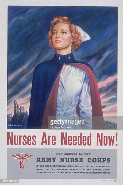 US Army Nurse Corps recruiting poster features a uniformed female nurse standing in front of the wreckage of a building over the text 'Nurses are...