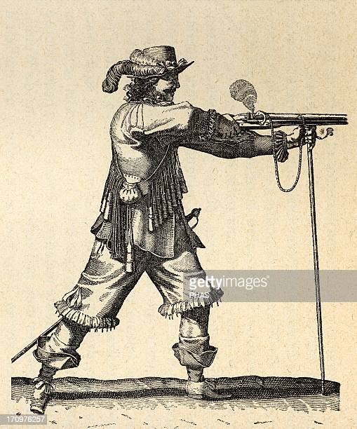Army of the 18th century France Musketeer of the Infantry of Louis XIV firing the musket Engraving