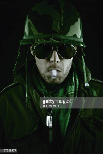 army officer smoking a cig