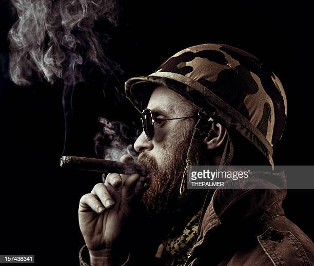 army officer smoking the victory cigar