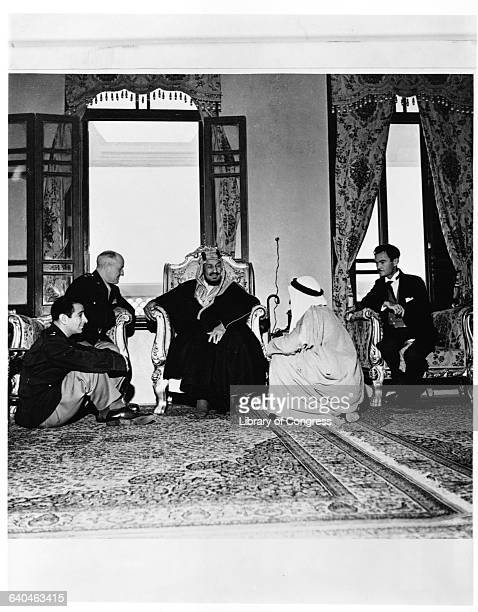 U S Army officers have an audience with King Abdul Aziz ibnSaud of Saudi Arabia ca 1945
