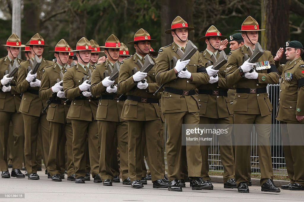 NZ Army parade during the Military Commemorative Service for LCPL Durrer and LCPL Malone at Burnam Military Camp on August 11, 2012 in Christchurch, New Zealand. The bodies of the two New Zealand soldiers killed in Afghanistan arrived in Christchurch last night. Private funeral services will then be held by their families.