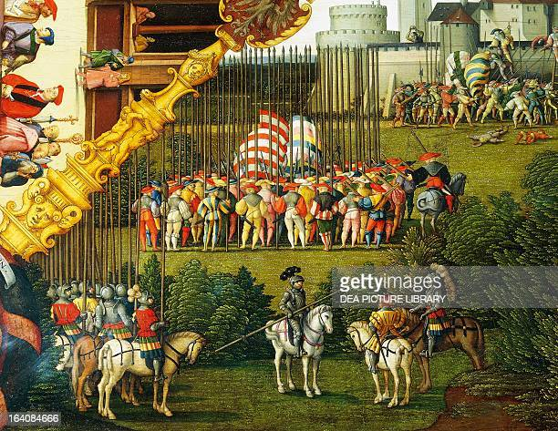 Army preparing to attack detail from The story of David by Hans Sebald Beham of painted on wood Germany 16th century Paris Musée Du Louvre