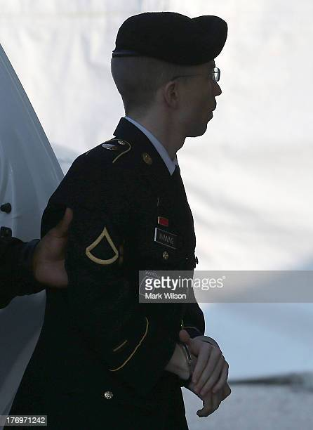 Army Private First Class Bradley Manning arrives at a military court facility for the sentencing phase of his trial August 20 2013 in Fort Meade...