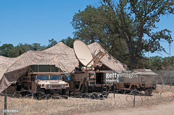 Army satellite communications with desert camouflage