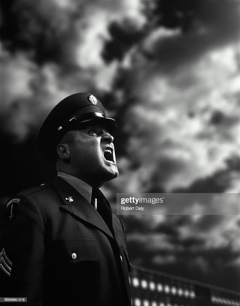 US Army sergeant shouting on parade ground (Digital Composite) : Stock Photo
