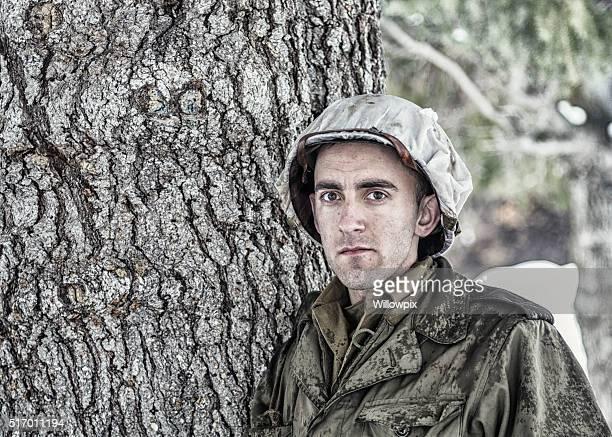 Nos soldado do exército SEGUNDA GUERRA MUNDIAL graves Retrato de inverno