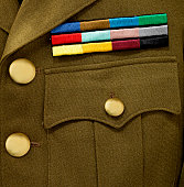 Army Service stripes on jacket with brass buttons