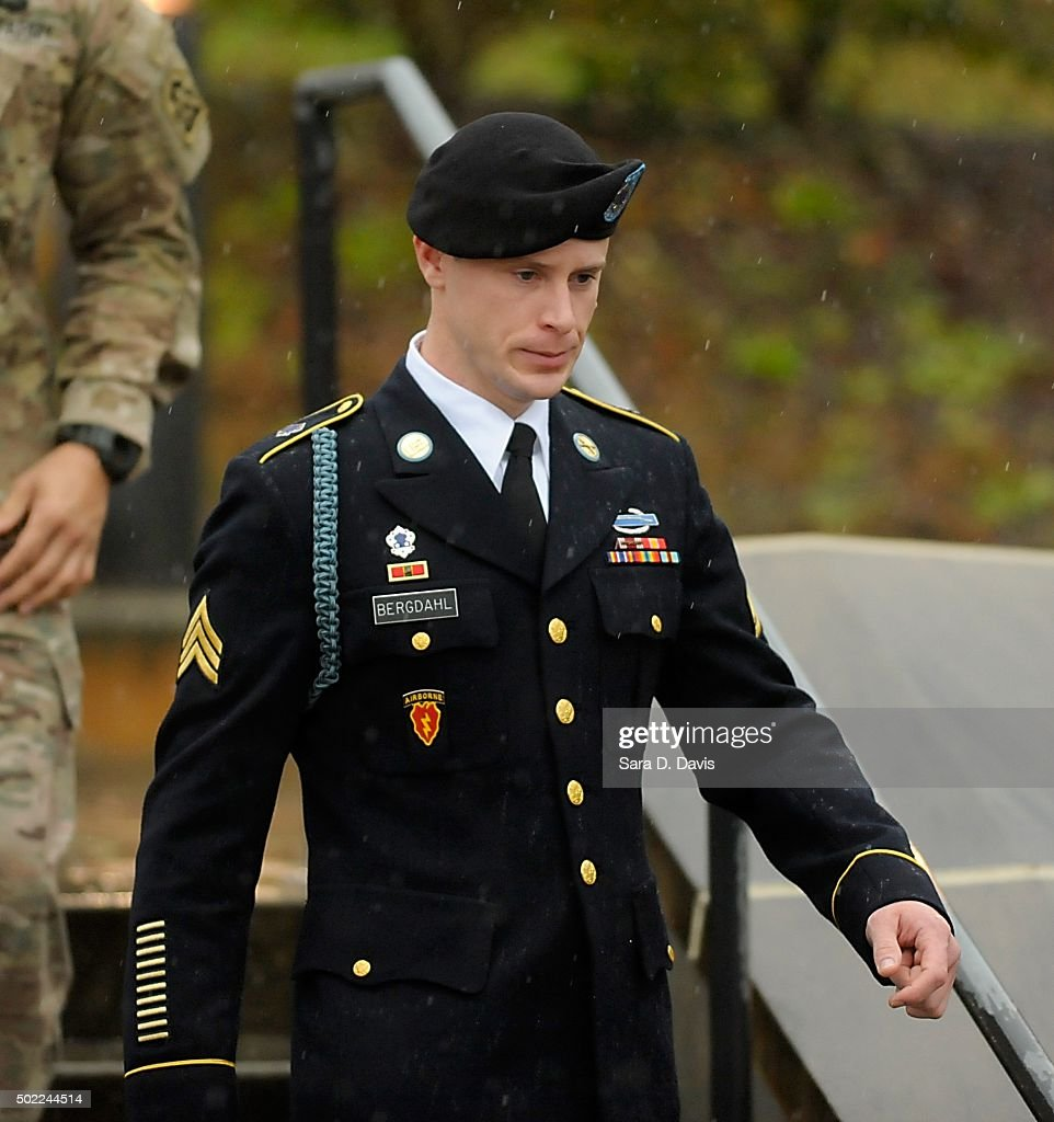 Army Sgt. <a gi-track='captionPersonalityLinkClicked' href=/galleries/search?phrase=Bowe+Bergdahl&family=editorial&specificpeople=12198327 ng-click='$event.stopPropagation()'>Bowe Bergdahl</a> of Hailey, Idaho, leaves a military courthouse on December 22, 2015 in Ft. Bragg, North Carolina. Bergdahl was arraigned on charges of desertion and endangering troops stemming from his decision to leave his outpost in Afghanistan in 2009. He was captured by the Taliban and spent five years in captivity before being freed in a prisoner exchange.