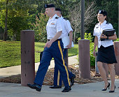 S Army Sgt Robert Bowdrie 'Bowe' Bergdahl 30 of Hailey Idaho arrives at the Ft Bragg military courthouse with his legal counsel for a pretrial...