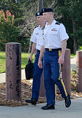 S Army Sgt Robert Bowdrie 'Bowe' Bergdahl 30 of Hailey Idaho arrives at the Ft Bragg military courthouse with his attorney Army Lt Col Franklin D...