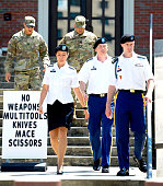 S Army Sgt Robert Bowdrie 'Bowe' Bergdahl 30 of Hailey Idaho leaves the Ft Bragg military courthouse with his military counsel Capt Nina Banks and Lt...