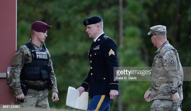 S Army Sgt Robert Bowdrie 'Bowe' Bergdahl 31 of Hailey Idaho is escorted into the Ft Bragg military courthouse for his sentencing hearing on October...