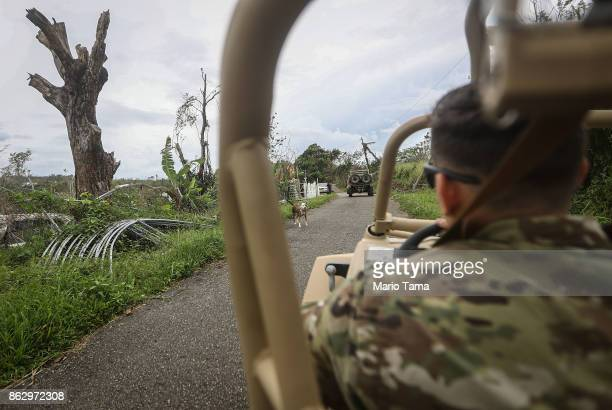 S Army soldier drives an allterrain vehicle during food and water delivery efforts four weeks after Hurricane Maria struck on October 18 2017 in...