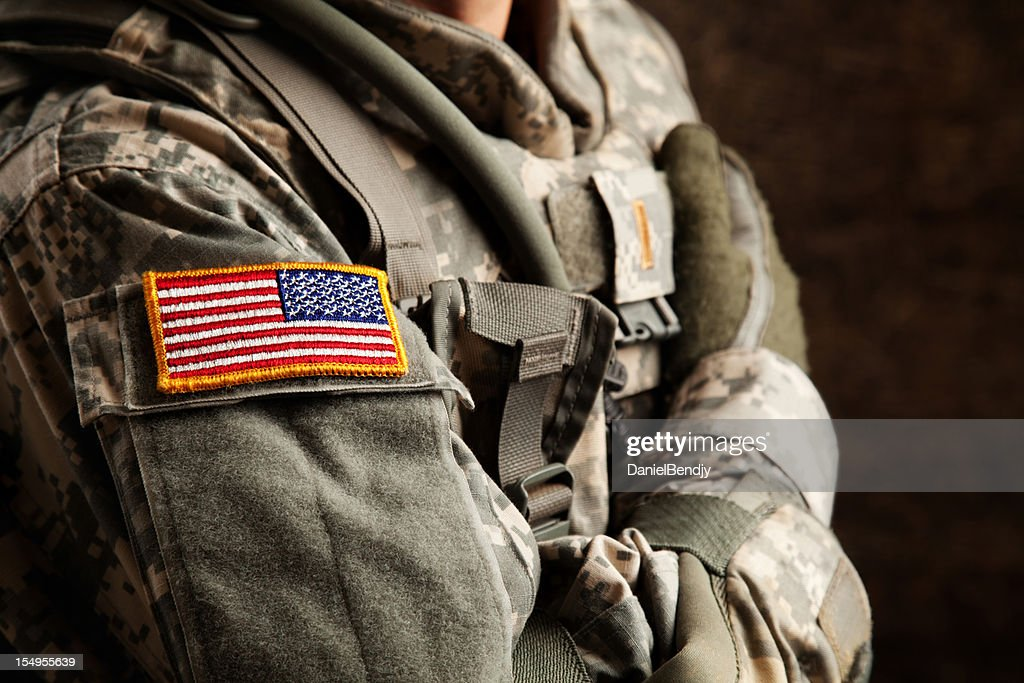 US Army Soldier in Universal Camouflage Uniform : Stock Photo