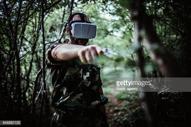 Army Soldier in virtual reality