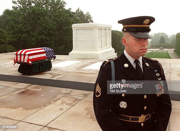 Army soldier keeps a vigil over the flagdraped casket that contains the remains of the Unknown from the Vietnam War before ceremonies 14 May at the...