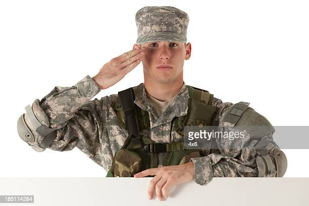 Army soldier saluting